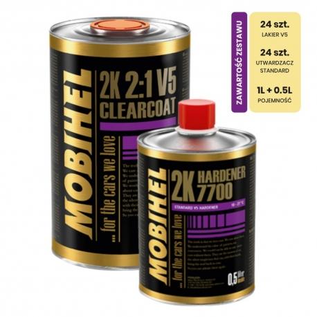 Zestaw: Lakier Bezbarwny Mobihel V5 Antiscratch 1L + Utwardzacz 7700 - 24 kpl.