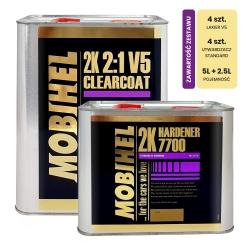 Zestaw: Lakier Bezbarwny Mobihel V5 Antiscratch 5L + Utwardzacz 7700 - 4 kpl.